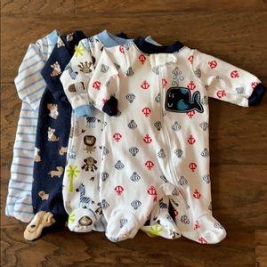 Preemie Baby Footie Pajamas /set of 4